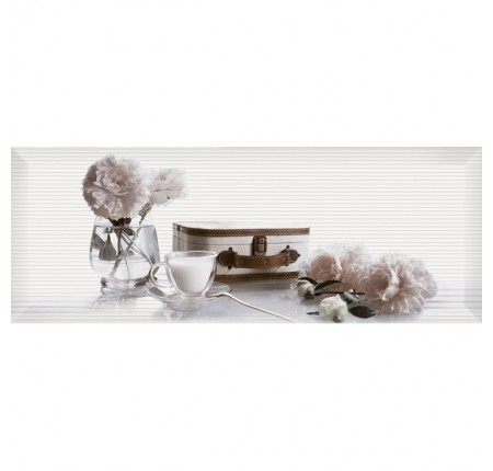 Декор настенный InterCerama Pergamo белый 061-2 15х40 (шт)