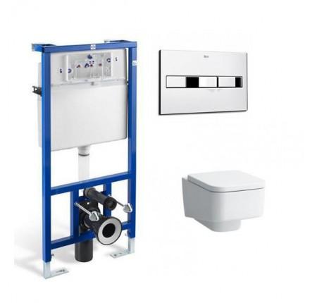 Набор унитаз Laufen Pro S+инсталляция Roca Pro с кнопкой+сидение soft closing 8209610000001 + 89009000К + 8919610000001