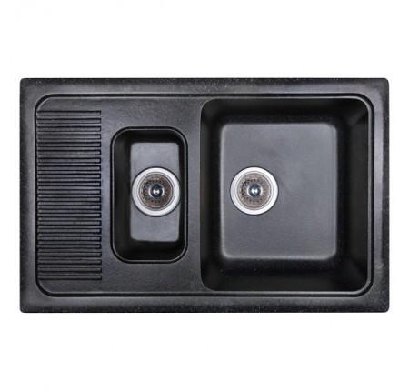 Мойка для кухни Fosto 77x49 SGA-420 (черный) двойная