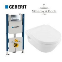 Набор Villeroy&Boch 5684HR01 Omnia Architectura с крышкой Soft Close + GEBERIT 458.126 + клавиша Delta 21