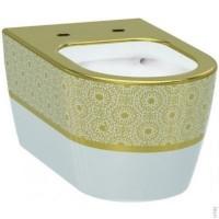 Унитаз подвесной Idevit Alfa Iderimless (3104-2616-1101) белый/декор золото