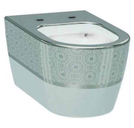 Унитаз подвесной Idevit Alfa Iderimless (3104-2616-1201) белый/декор серебро