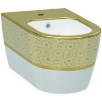 Биде подвесное Idevit Alfa (3106-2605-1101) белый/декор золото