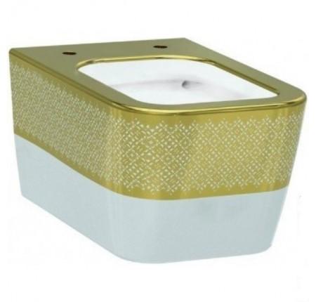 Унитаз подвесной Idevit Halley Iderimless (3204-2616-1101) белый/декор золото