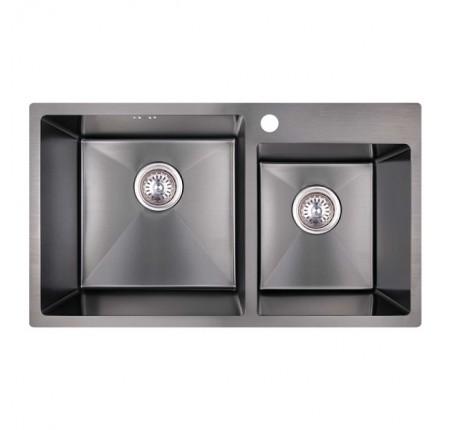 Мойка для кухни Imperial S7843BL PVD black Handmade 2.7/1.0 mm двойная