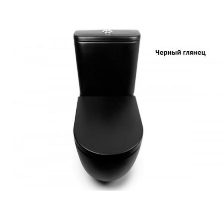 Унитаз-компакт напольный Newarc Modern Rimless 3822B NEW черный глянец и крышкой Soft Close