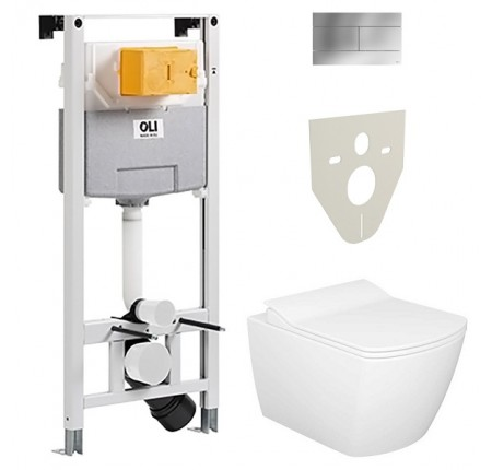 Комплект Elegant Rim Off + сиденье + инсталл OLI 120 PLUS + кнопка SLIM хр (EG321.001+099949)