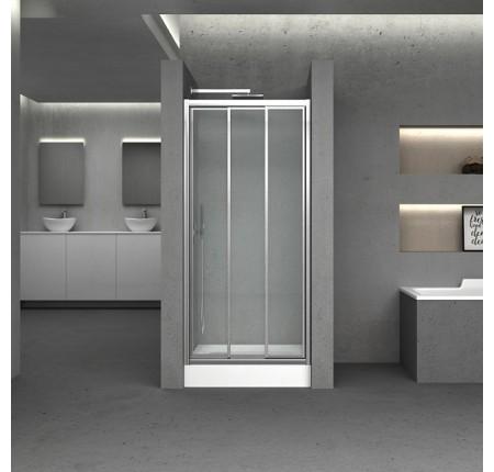 Дверь в нишу Q-tap Unifold CRM208.C4, стекло 4мм Clear, CalcLess, 78-81x185, складная универс.