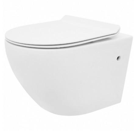 Унитаз подвесной Rea Сarlo Mini Rimless, сиденье дюропласт soft-close slim n, белый (REA-C1256)