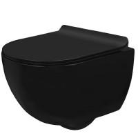 Унитаз подвесной Rea Сarlo Mini Rimless, сиденье дюропласт slim black mat (REA-C8405)