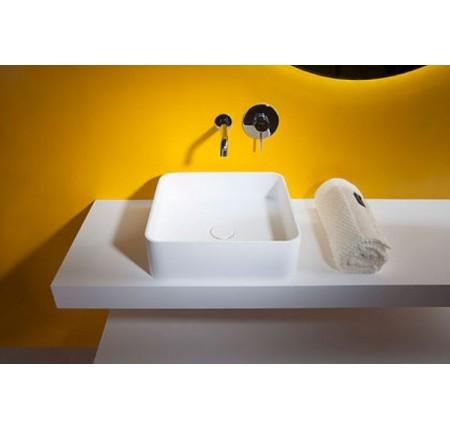 Умывальник Volle Solid surface 13-40-210 40x40x12,5см, накладной, каменный
