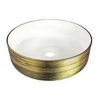 Умывальник Volle 13-40-222G 36x36x12см накладной, золото/белый