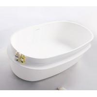 Ванна отдельно стоящая каменная Volle Solid surface 12-40-054 163x75x53см, с полочкой